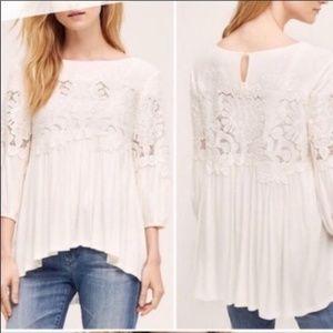 Anthropologie   Deletta White Couture Lace Blouse